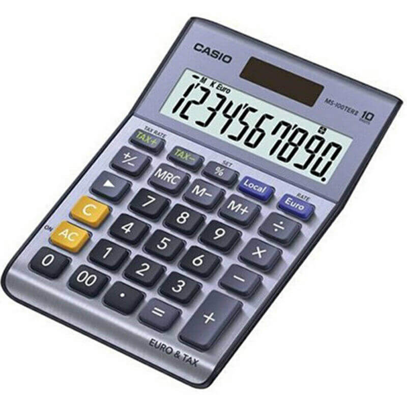 Casio MS100 Desk Calculator Solar Powered Currency Converter & VAT Large Display 1