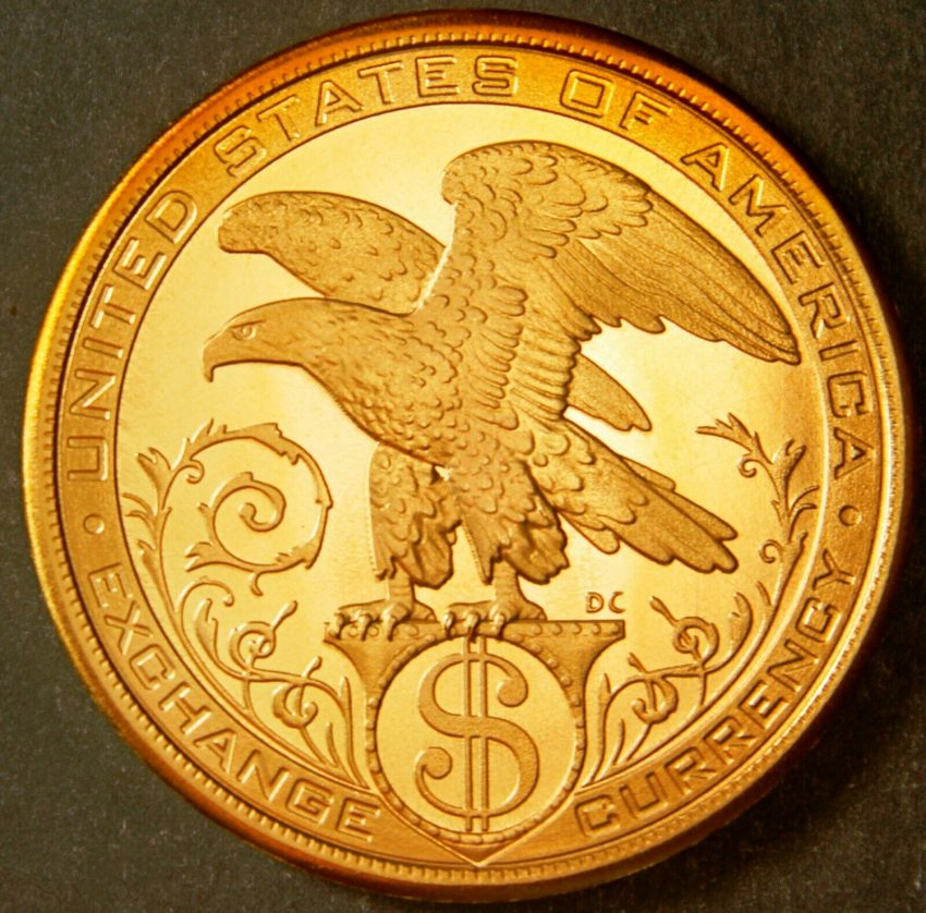 DANIEL CARR 2013 EXCHANGE CURRENCY LIBERTY & PUMA / EAGLE MEDAL BRASS 1